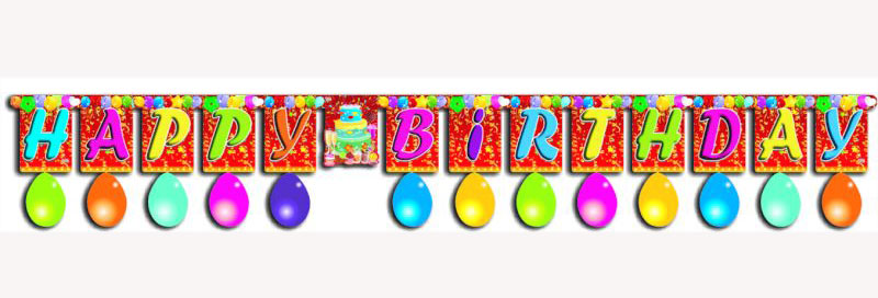 Letter Banner Big w/ Balloons (Happy Birthday) White Board