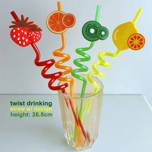 Twist Straw w/ Fruits Decor (x12's)